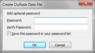 Outlook PST data file password prompt